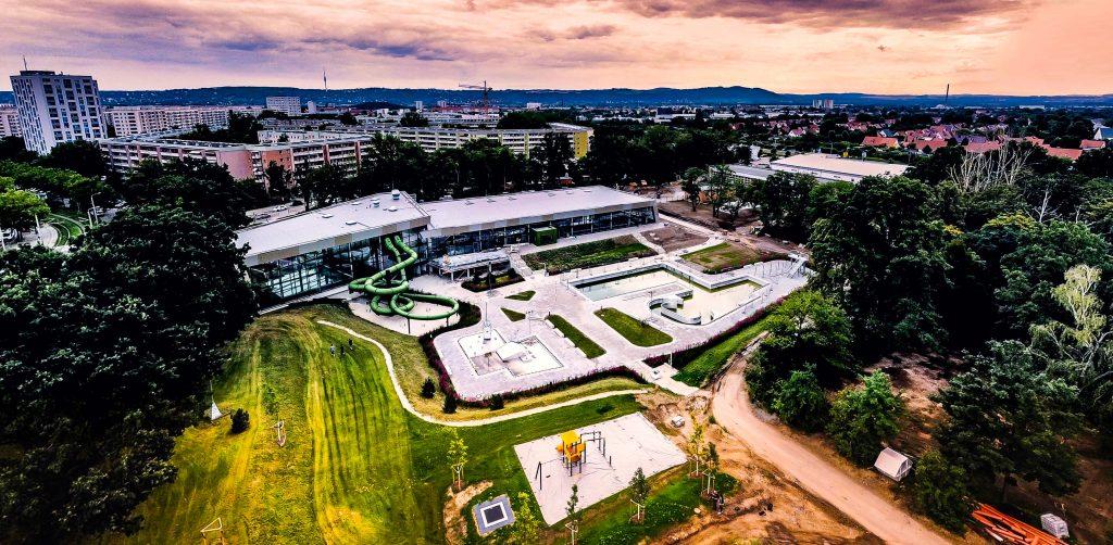Freibad, Luftbild vor Eröffnung