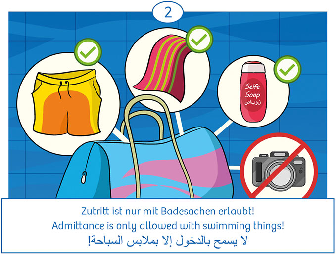 2: Zutritt ist nur mit Badesachen erlaubt! Keine Kameras.