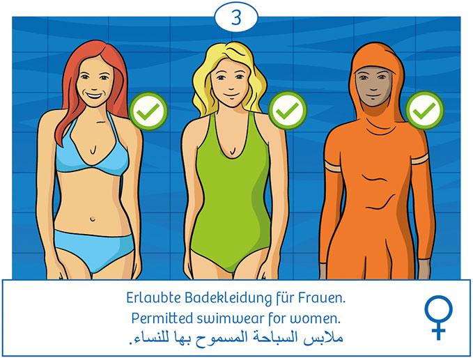 3: Erlaubte Badebekleidung für Frauen (Bikini, Anzug, Burkini)