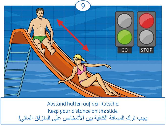 9: Abstand halten auf Rutsche