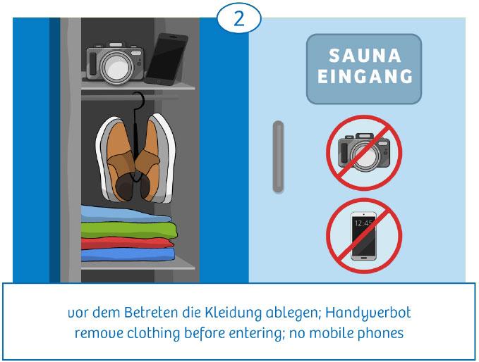 2: vor dem Betreten die Kleidung ablegen, Handyverbot
