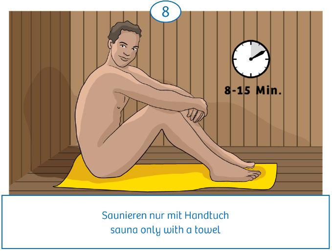 8: Saunieren nur mit Handtuch